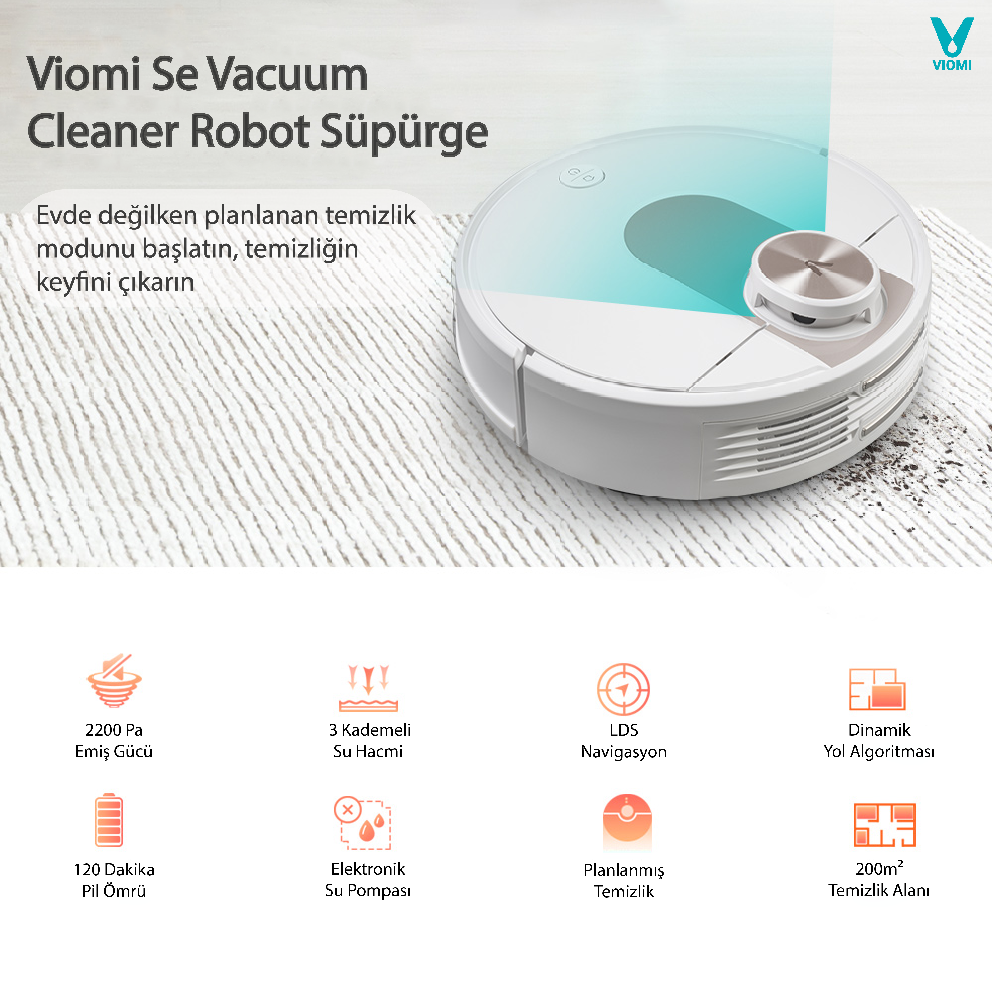 Viomi Se Vacuum Cleaner Lazer Sensör Robot Süpürge ve Paspas